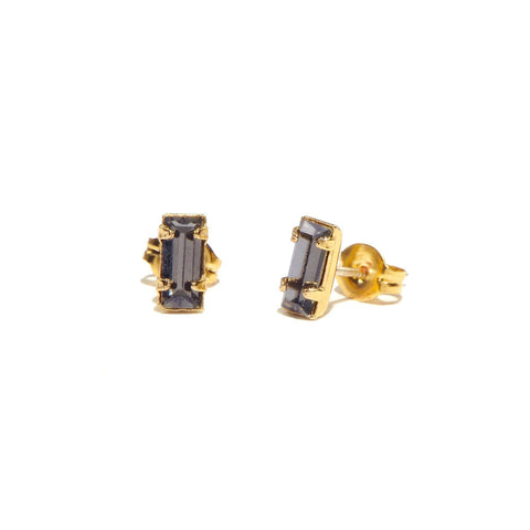 Tiny Baguette Studs - Blue Grey Crystal - Bing Bang Jewelry NYC