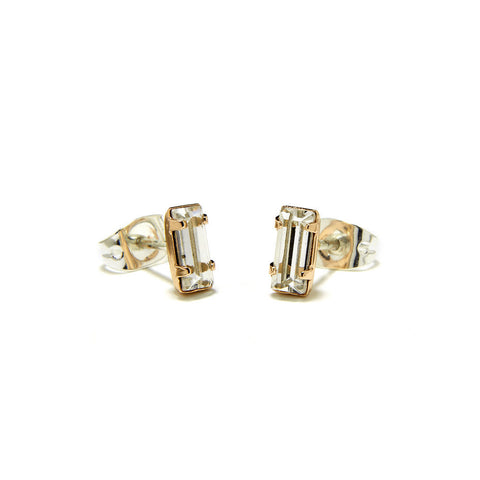 Tiny Baguette Studs - Clear Crystal - Bing Bang NYC - 3