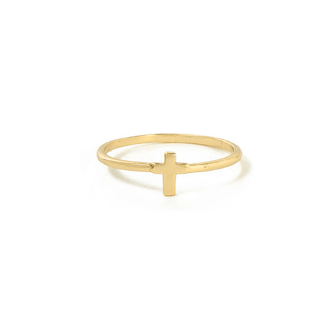 Tiny Cross Ring - Bing Bang Jewelry NYC