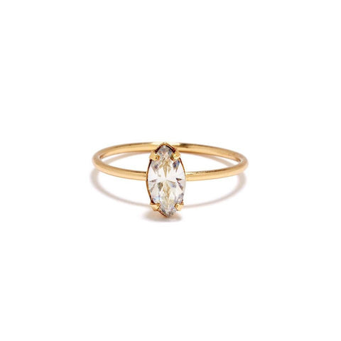 Tiny Marquis Ring - Clear Crystal - Bing Bang Jewelry NYC