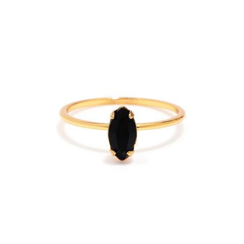 Tiny Marquis Ring - Jet Black Crystal - Bing Bang Jewelry NYC