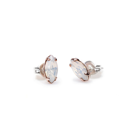 Tiny Marquis Studs - Opal Crystal - Bing Bang Jewelry NYC