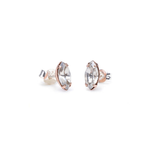 Tiny Marquis Studs - Clear Crystal - Bing Bang Jewelry NYC