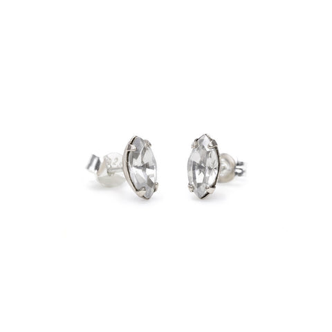 Tiny Marquis Studs - Clear Crystal - Bing Bang NYC