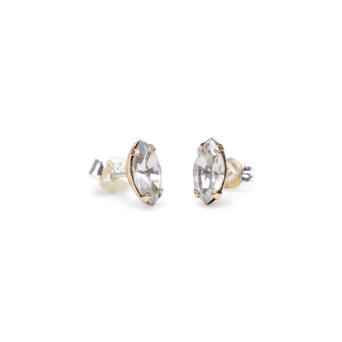 Tiny Marquis Studs - Clear Crystal - Bing Bang NYC - 3