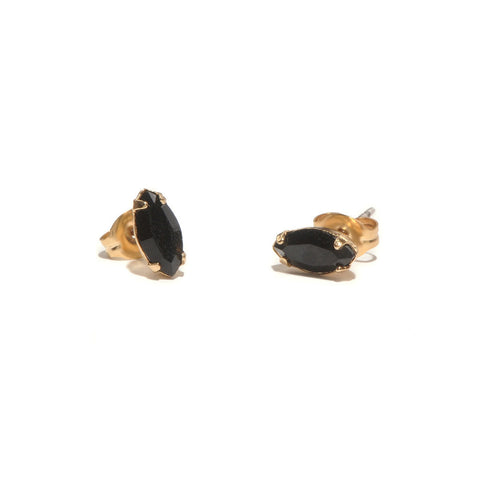 Tiny Marquis Studs - Jet Black Crystal - Bing Bang Jewelry NYC