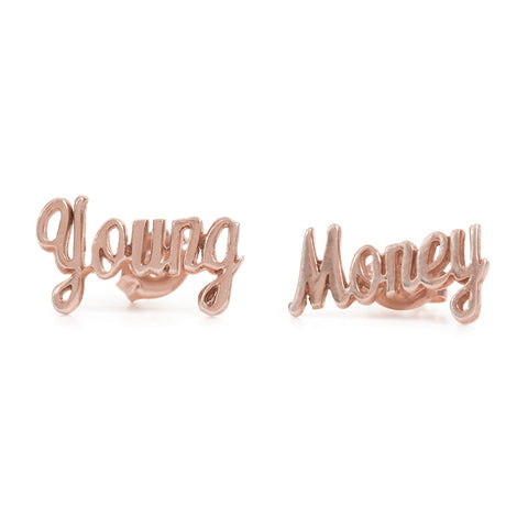 Young Money Studs-Rose Gold - Bing Bang Jewelry NYC