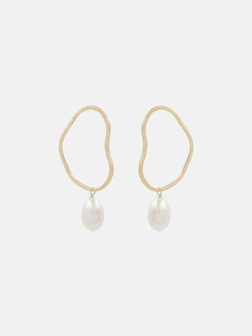 Aalto Midi Pearl Drop Earrings - Bing Bang Jewelry NYC
