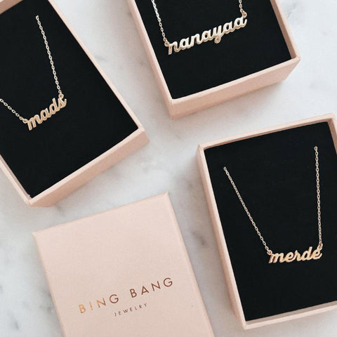 Custom Nameplate Necklace - Cheeky Script - Bing Bang Jewelry NYC