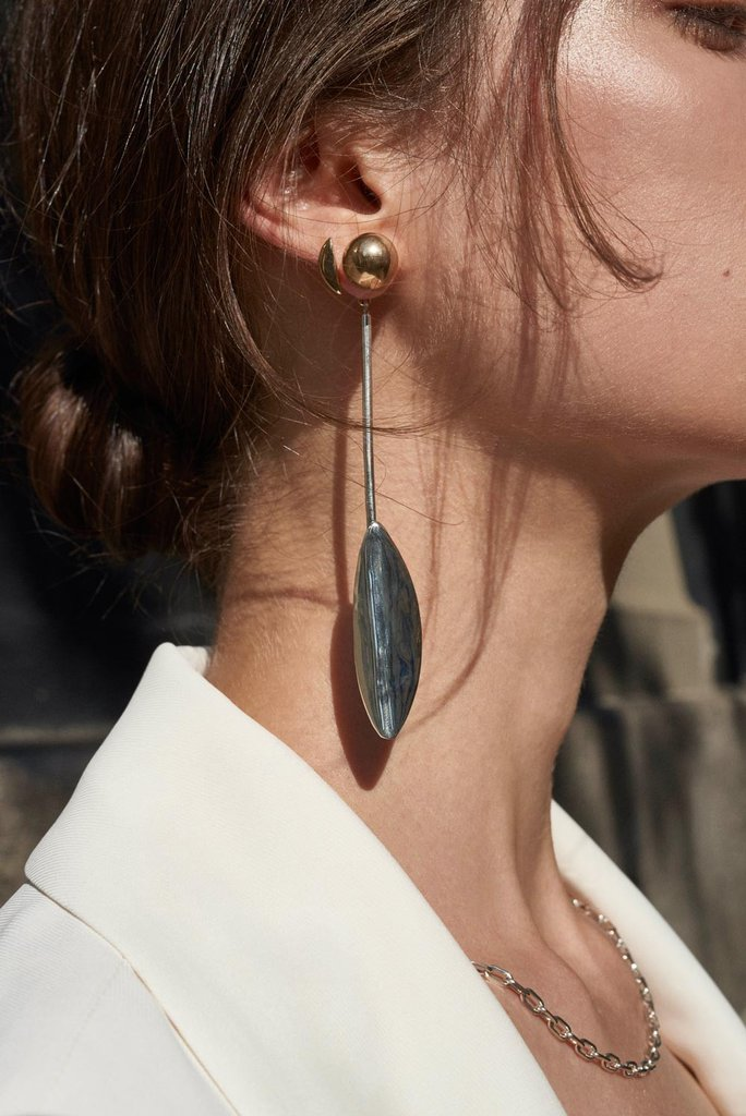 Elongated Leaf Earring Duet - Bing Bang Jewelry NYC
