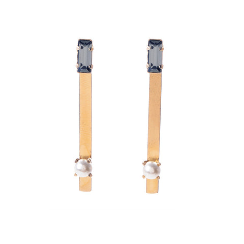 Pearl Bar Earring - Baguette Stud - Bing Bang NYC - 1