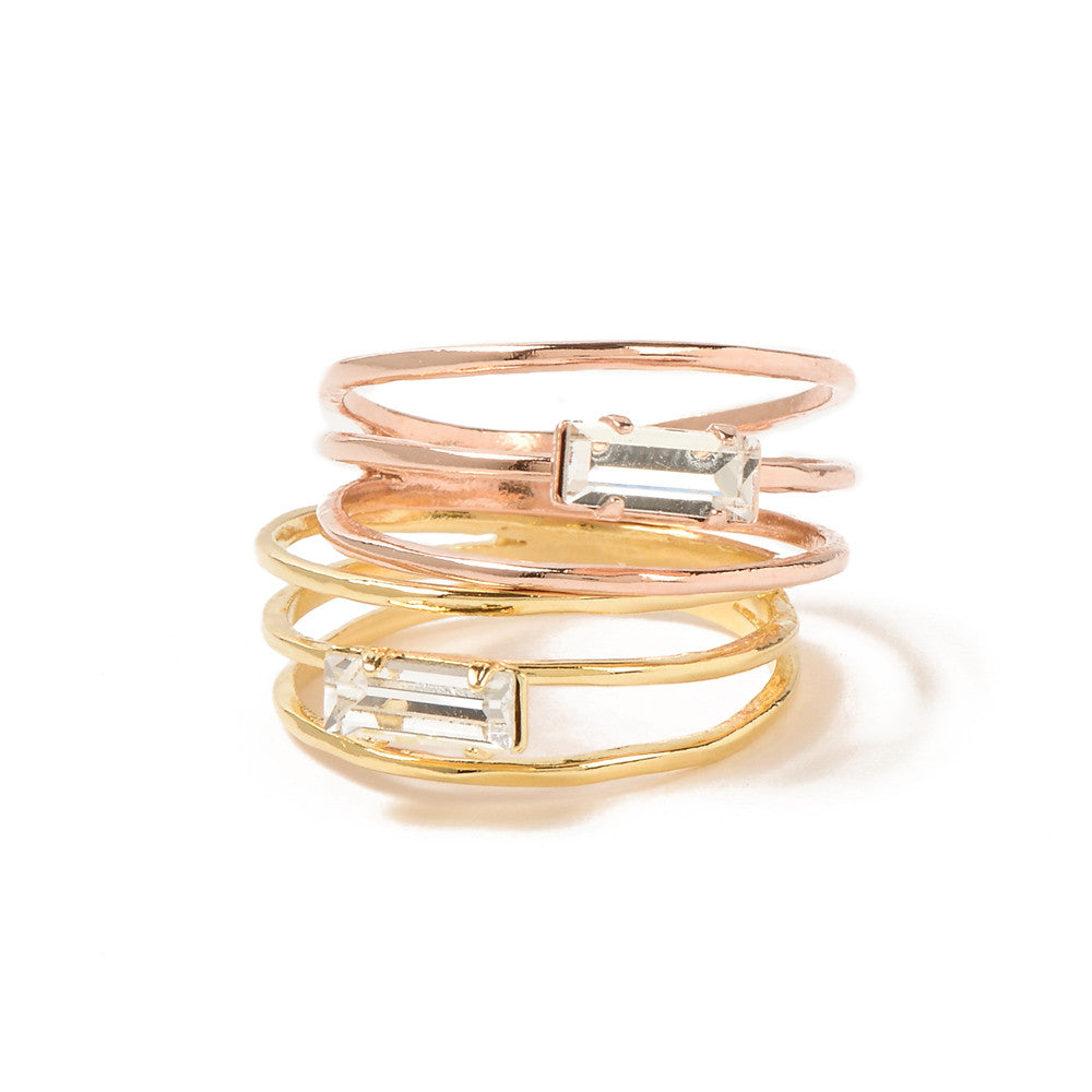 Stacked Baguette Ring-Rose Gold - Bing Bang Jewelry NYC