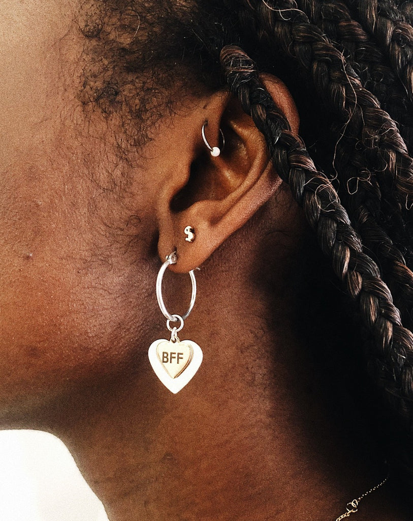 Heart Charm Hoops - Bing Bang Jewelry NYC