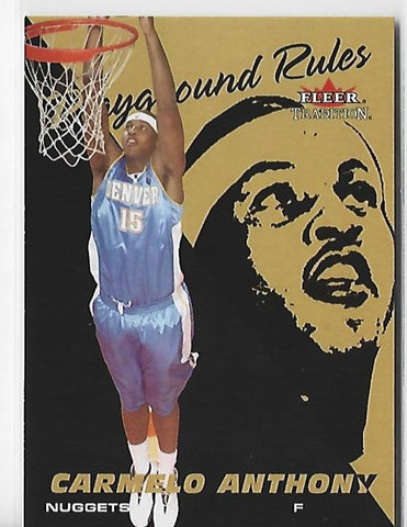 Carmelo Anthony 2003 Fleer Traditions Playground Rules Unsigned Rookie Card