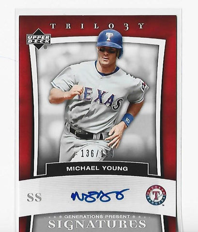 Michael Young 2005 Upper Deck Trilogy #PR-MY (136/139) Autograph Card