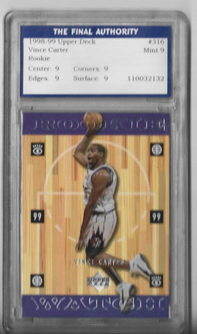 Vince Carter 1998-1999 Upper Deck #316 (Final Authority Grade 9 Mint) Rookie Watch Card