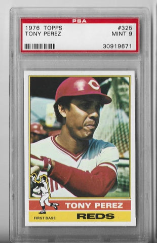 Tony Perez 1976 Topps Unsigned Card Mint 9 (PSA)
