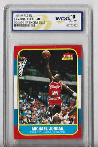 Michael Jordan 1996-97 Fleer Decade Of Excellence #4 (WCG Grade 10 GEM-MT) Card