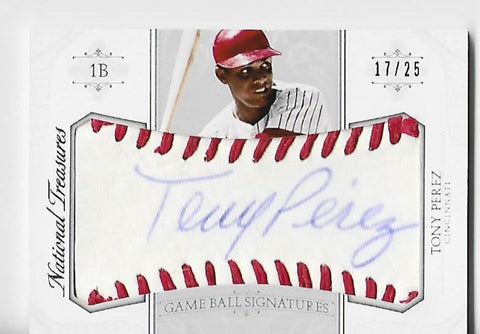 Tony Perez 2015 Panini Game Ball Signatures #96 (17/25) Card