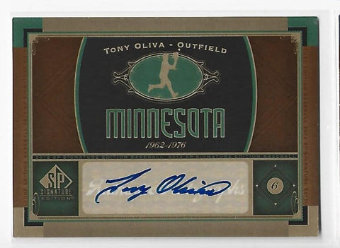 Tony Oliva 2012 Upper Deck SP Signature Edition #MEKPB Autograph Card