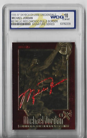 Michael Jordan 1996-1997 Skybox EX-2000 Credentials 23KT Gold Autograph (WCG Grade 10 GEM-MT) Card