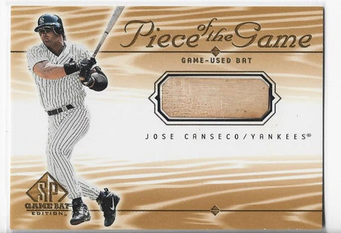 Jose Canseco 2000 Upper Deck SP Piece Of The Game-Used Bat #JC Card