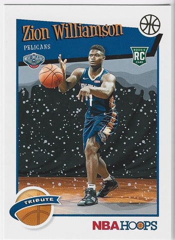 Zion Williamson 2019 NBA Hoops Tribute Rookie Card