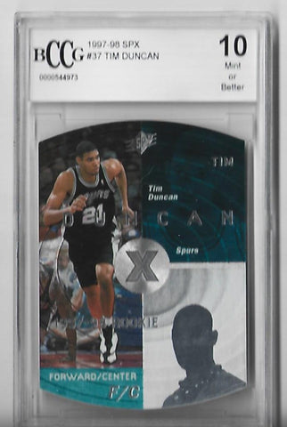 Tim Duncan 1997-1998 SPX #37 (Becket Grade 10) Rookie Card