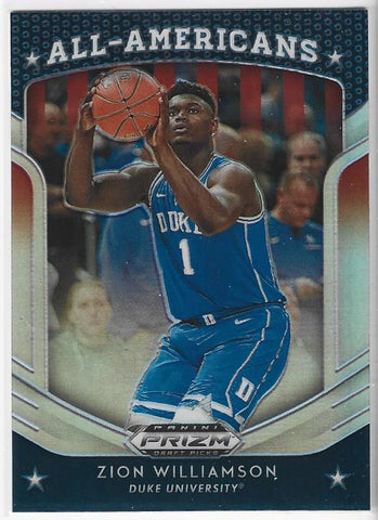 Zion Williamson 2019 Prizm Draft Picks All American Rookie Card