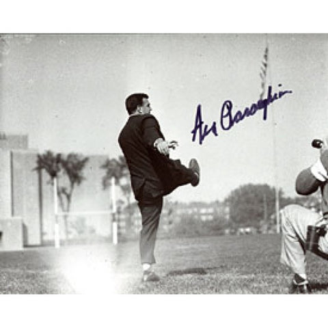 Ara Parseghian Autographed / Signed Kicking 8x10 Photo