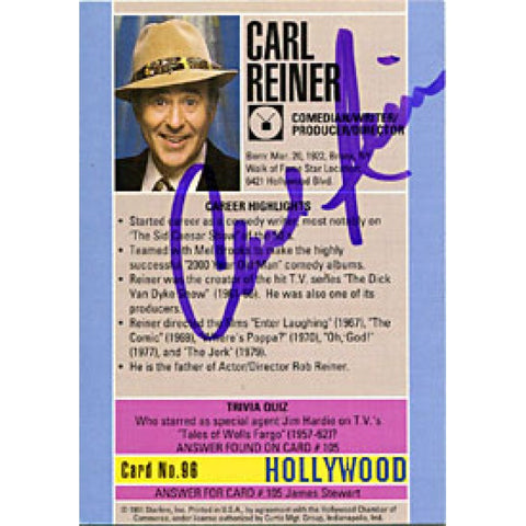 Carl Reiner Autographed / Signed 1991 Hollywood Card (James Spence)
