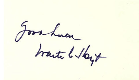 Waite C Hoyt Autographed / Signed 3x5 Card