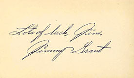 Jimmy Grant Autographed / Signed 3x5 Card