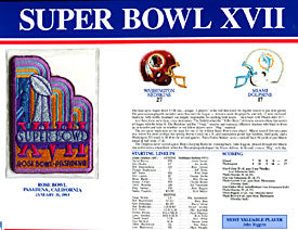 Super Bowl 17 Patch and Game Details Card
