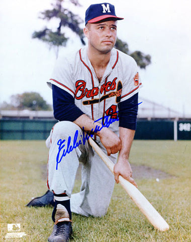 Eddie Mathews Autographed / Signed Kneeling Pose 8x10 Photo