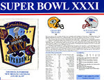 Super Bowl 31 Patch and Game Details Card