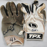 Carlos Santana Autographed / Signed Cleveland Indians 2009 Game Used Grey/White Batting Gloves