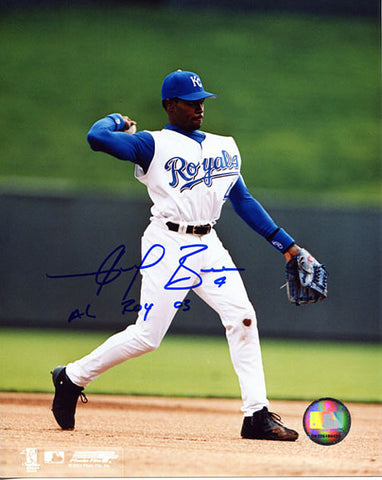 Angel Berroa ROY 2003 Autographed / Signed Throwing to First Kansas City Royals 8x10 Photo