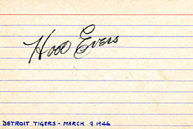 Hoot Evers Autographed / Signed Baseball 3x5 Card