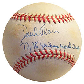 Paul Blair 77 '78 Yankees World Champs Autographed / Signed Baseball