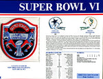 Super Bowl 6 Patch and Game Details Card