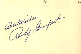 Randy Gumpert Autographed / Signed 3x5 Card
