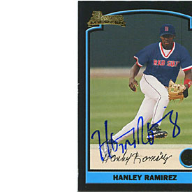 Hanley Ramirez Autographed/Signed 2003 Bowman 1st Year Card