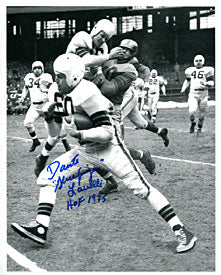 "Dante ""Gluefingers"" Lavelli ""HOF 1975"" Autographed Making a Block 8x10 Photo"