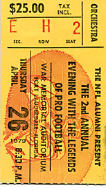 2nd Annual Pro Football Leyends Unsigned April 26 1979 Footbal Ticket Stub
