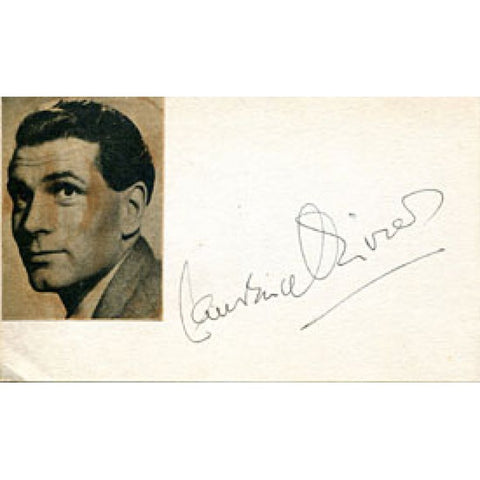 Laurence Olivier Autographed / Signed 3x5 Card (James Spence)