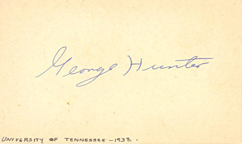 George Hunter Autograph/Signed 3x5 College Footbal Card
