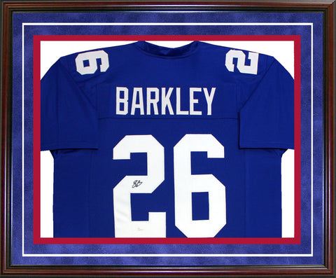 Saquon Barkley Autographed Framed New York Giants Jersey (JSA)