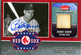 Bobby Doerr Autographed / Signed 2006 Fleer Bat Card