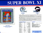 Super Bowl 11 Patch and Game Details Card